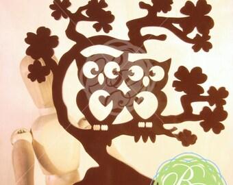"Owl Cake Topper, BROWN ""Owl Love You Forever"" Wedding  Keepsake Topper, Anniversary, Date Night Owl Couple, Owl Pair *Original Design*"