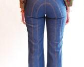 RARE Vintage 1970s High Waist Jeans - 70s Bell Bottom Jeans - Wrangler Jeans