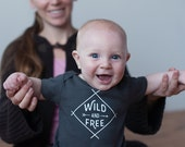 Organic Wild and Free Onesie, Organic Gray Baby Bodysuit, Organic Romper, Screen printed onesie, 3-6m, 6-12 mo, 12-18mo by Sweetpea and Co.