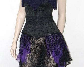 Gothic Victorian dress, evening gown Bride BRIDAL brocade purple fringe overbust corset black lace fishtail bustle skirt