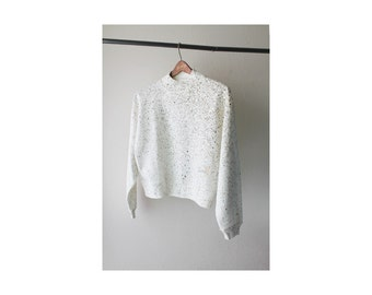 1980's White Gold Speckle Turtle Neck Sweatshirt