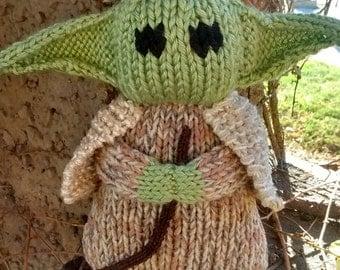 Hand Knit Yoda -soft stuffed toy doll