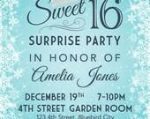 Sweet 16 Snowflake birthday invitation