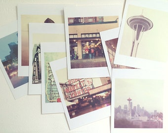 Pacific Northwest photos, mini print gift set, Seattle photography, Portland photograph, PNW prints, Space Needle, Starbucks art, under 20