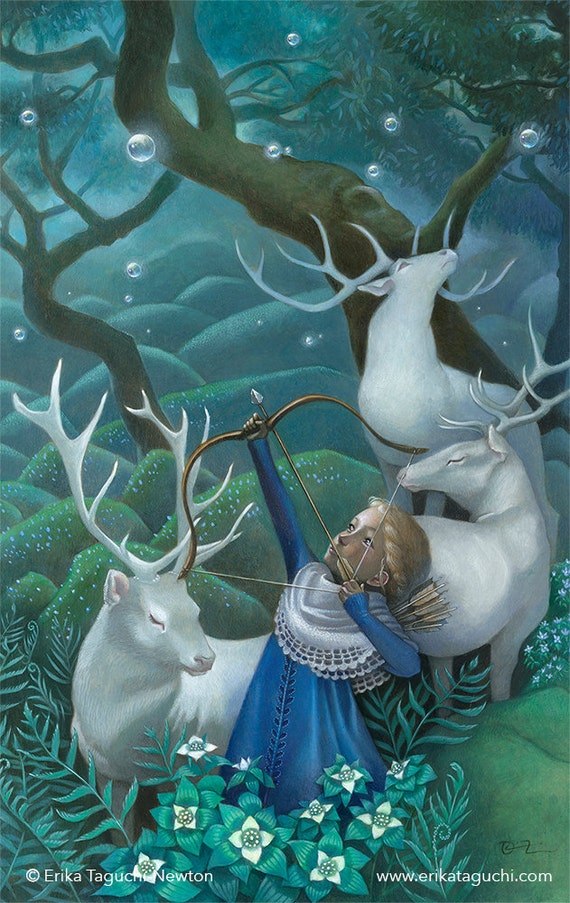 "Girl with Elks Art, 9x12 Archer Girl Painting, Forest Fantasy Fine Art Print,  ""Wishbreaker"""