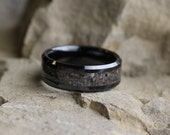 Dinosaur Bone Wedding Band, Black Ceramic Ring with Dinosaur Bone Inlay