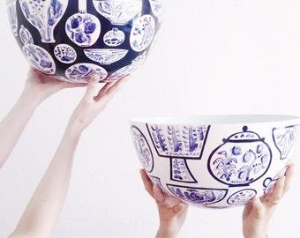 Fruit Bowl Handmade Pottery Wheelthrown Indigo Pattern Delft Kitchen Island Bowl