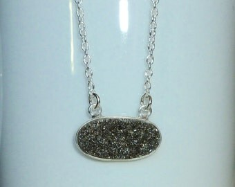 Black Diamond Druzy Necklace, Sterling Silver Druzy Necklace, Drusy Quartz Necklace, Druzy Jewelry