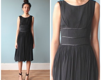 black cocktail dress / 1950s chiffon ribbon party dress / xs