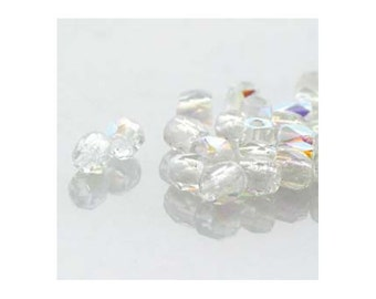 True2 Czech Firepolish Beads 2mm Crystal AB 18501 (2gr about 200 beads), Tiny Round Glass Beads, Faceted Glass Beads