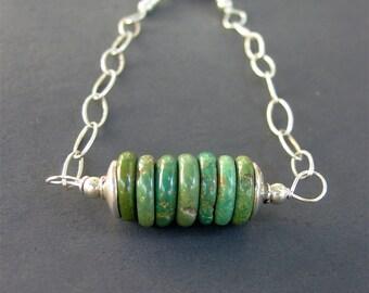 Turquoise Bracelet, Turquoise Sterling Silver Bracelet, Minimal Jewelry, Layering Bracelet