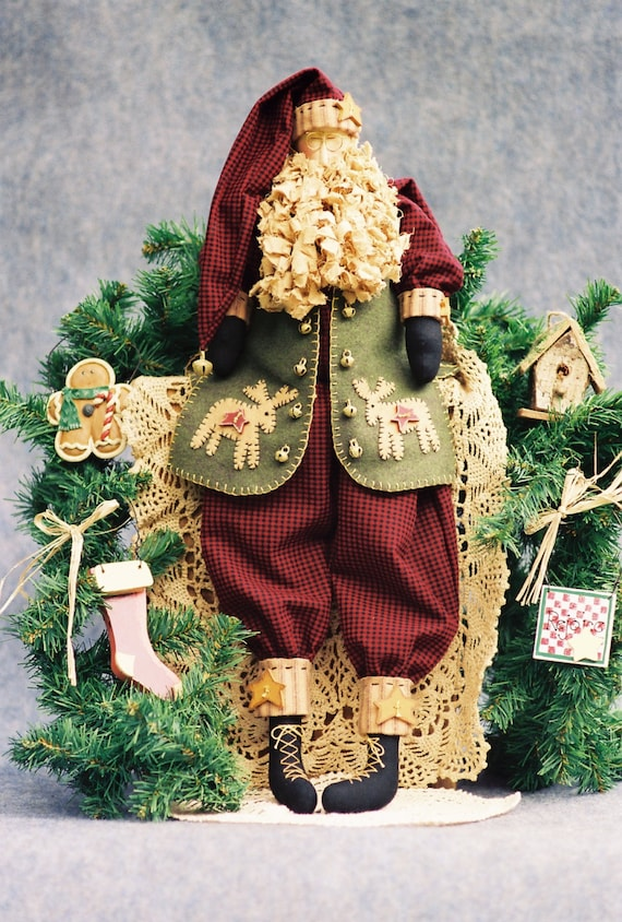 Mailed Cloth Doll Pattern - Christmas Folk Art Santa