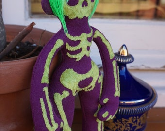 Skull Grrrl - plush - purple and green - One of a kind