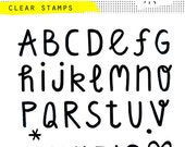 clear photopolymer alphabet stamps ABC original hand-drawn font