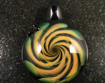 Glass fume Implosion Pendant  --- Majestic Glass Arts ---
