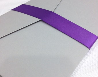 "10 Satin Ribbon Sashes - 7/8"" Wide - A7 (5x7"") - DIY Invitation Supplies - Single Face Satin Ribbon"