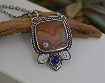 Agate Necklace. Sterling Silver Laguna Agate Amethyst Necklace. Leaf Jewelry. Wavy. Orange Purple Statement Necklace.