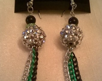 Acrylic Silvery Pave, Black and Green Glass Beads with Silver, Green and Black Colored Chains Earrings