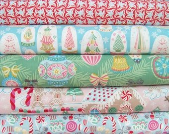 9 Fat Quarters Bundle of Sugar Rush and Vintage Noel Christmas Fabrics ~ 2.25 yards total
