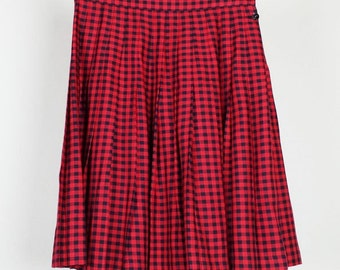 Vintage Gap Red Black Checked Pleated Skirt M L