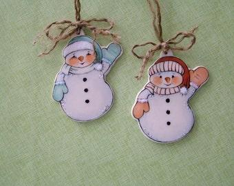 Snowman Ornament set of 2