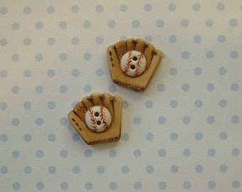 Baseball Mitt Button set of 2