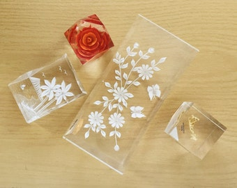 Vintage Lucite Desk Set  kitsch clear resin retro acylic paper weight sculpture desk decor small accent collection   vtg DECOR   FOUND by LB