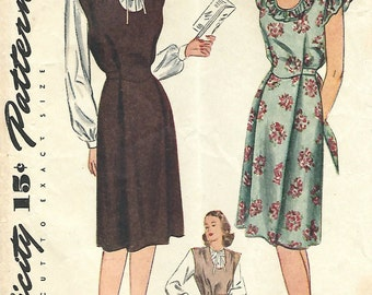 1940s Simplicity 1228 Vintage Sewing Pattern Misses Maternity Dress, Sundress, Jumper, Blouse Size 16 Bust 34