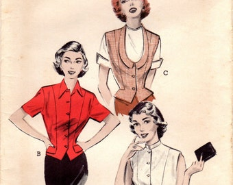 1950s Butterick 6074 UNCUT Vintage Sewing Pattern Misses Fitted Blouse, Weskit Blouse Size 14 Bust 32