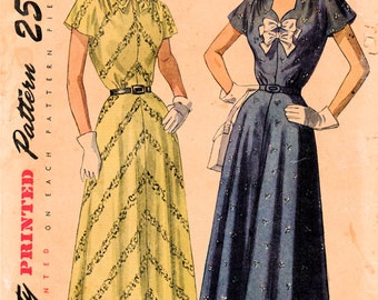 1940s Simplicity 2495 UNCUT Vintage Sewing Pattern Women's Afternoon Dress Size 36 Bust 36