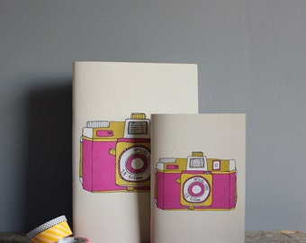 Holga Camera Pocket Notebook in Pink - Recycled Paper A6