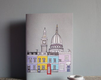 London Notebook  - A5 Recycled  - Cityscape Design