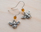 Teeny Tiny Silver Bee Earrings