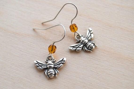 Teeny Tiny Silver Bee Earrings