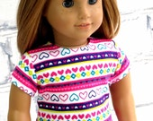 American Girl Doll Pink Stripe Sweetheart Top, 18 inch Doll Clothes Valentine Shirt