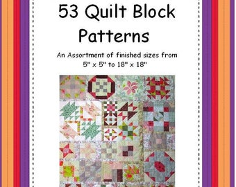 53 Quilt Block Patterns made into ONE quilt by YOU ! PDF Download