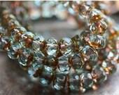 GOLDEN POND BITS .. 10 Premium Picasso Czech Glass Rondelle Beads 5x7mm (4258-10)