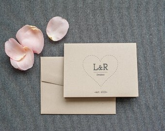 Rustic Monogram Kraft Personal Stationery Set Stationery Gift - Wedding Thank You Card - Newlywed Cards - Stationary Set -  Lauren