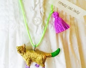 Cat Necklace in Gold with Tassel Crazy Cat Lady Necklace Cat Jewelry by The Trendy Tot