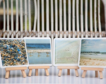 Fused Glass Coasters - set of four featuring your full-color photos logo or graphic - CUSTOM CREATION - example images shown