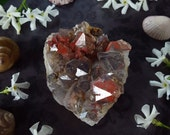 Quartz Cluster - Quartz Crystal - Hematite Included Quartz - Red and Black Quartz from Morocco - Hematite Phantom Quartz Cluster