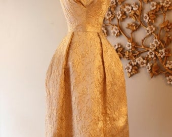 Vintage 1960s Will Steinman Gold Party Dress ~ Vintage 60s Gold Brocade Cocktail Dress