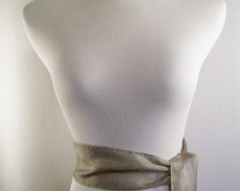 Wedding Sash - Taupe Organza Sash - Long Organza Sash Belt Tie - Squared Ends