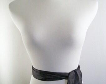 Solid Black Sash  - Solid Black Silky Belt - Silky Satin Tie - Shiny Black Crinkled Silky Satin