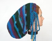 Large Crochet Mega Tam Sock Hat for Long Dreads Dreadlocks - Dark Green with Purple and Shades of Blue