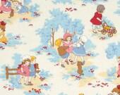 Retro Children Cotton fabric Petite Marianne Main L35-70 blue, Lecien of Japan