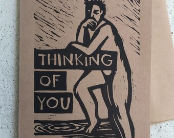 Thinking of You Note Card hand-made linocut artist print