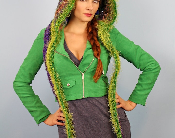 Green and Purple Hooded Scarf   CTochet Handmade Gift Soft Snood Skood Winter Gift for Women Teens and Children