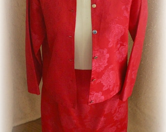 1960s Womens Suit, Red Brocade Skirt & Jacket, sm size woman, homemade. Chic