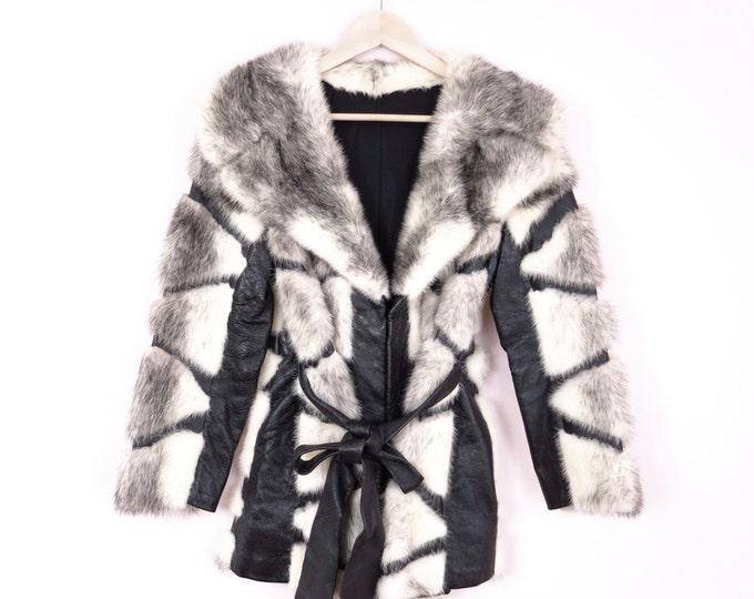 Vintage Black & White Fur and Leather Jacket Coat S/M